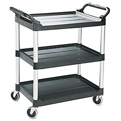 Rubbermaid Economy 3-shelf Black Plastic Cart