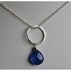 Silver and Blue Chalcedony Circle Pendant Necklace