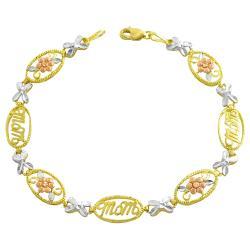 Fremada 10k Three-color Gold Flower and Mom Link Bracelet