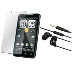 INSTEN Black 3.5 mm In-ear Headset with Screen Protector for HTC EVO 4G