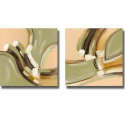 Joy Alldredge 'Going Green I and II' 2-piece Canvas Art Set