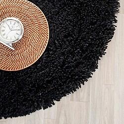Safavieh Hand-woven Bliss Black Shag Rug (6' Round)