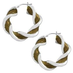 Fremada Chocolate Plated Silver Electroform Twisted Hoop Earrings