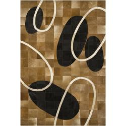 "Handmade Brown Oval-Motif Mandara Leather Rug (5' x 7'6"")"
