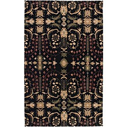 Set of 2 Hand-knotted Himalaya Black Wool Rugs (2' x 3')