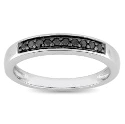 Miadora Sterling Silver 1/10ct TDW Black Diamond Ring
