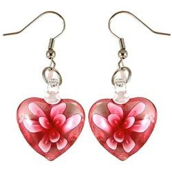 Murano-inspired Glass Pink Flower Heart Earrings