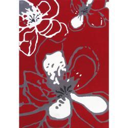 nuLOOM Handmade Prive Red Floral Pattern Wool Rug (5' x 8')