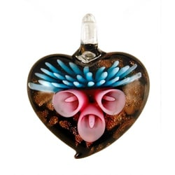 Murano-inspired Handmade Fade-resistant Glass Lily Heart Pendant 7492537