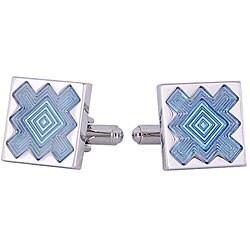 Cuff Daddy Rhodium Silver Blue Explosion Cufflinks