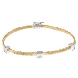 La Preciosa Sterling Silver Gold-Plated 'Threaded' Mesh Bracelet with Square Cubic Zirconia