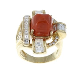 Pre-owned 18k Yellow Gold Coral and 2 1/2ct TDW Diamond Art Deco Estate Ring (H-I, SI1-SI2)