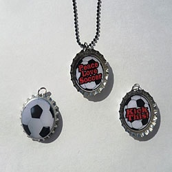 Soccer Bottle Cap Necklace Set
