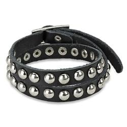 Punk Studded Double-wrap Black Leather Strap Bracelet