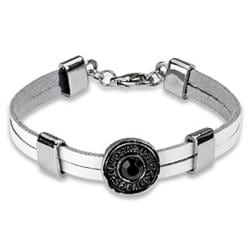 White Leather and Black Rhinestone Riveted Bracelet