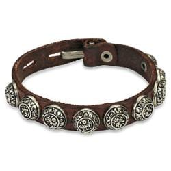Distressed Brown Leather Bracelet w/ Antique Buttons