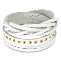 White Multi-strip Braided/ Studded Strap Bracelet