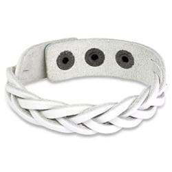 White Braided Leather Snap Bracelet