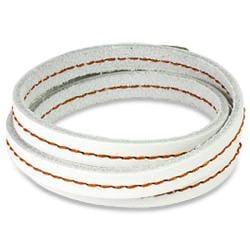 White Triple Wrap Topstitched Leather Bracelet