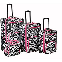 Rockland Deluxe Pink Zebra 4-piece Expandable Luggage Set Travel Bags