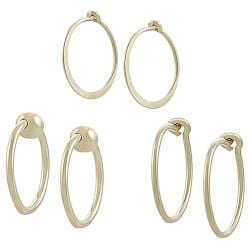 Goldfill and Alloy 3-piece Hoop Earring Set