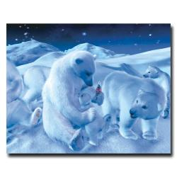 'Coke Polar Bear Sitting with a Cub and a Bottle' Canvas Art