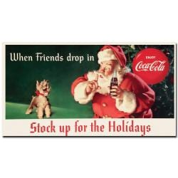 'Coke Santa Holding a Six-pack of Coca Cola' Canvas Art