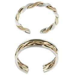 Tressa Sterling Silver Two-toned Two-piece Toe Ring Set