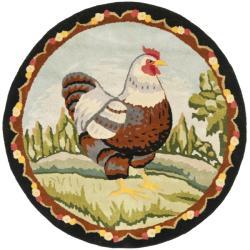 Safavieh Handmade Novelty Chicken Multi Wool Rug (4' Round)