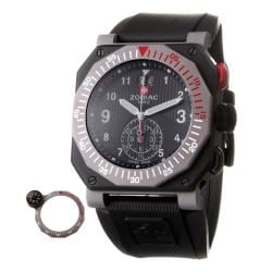 Zodiac Men's 'ZMX' Black Stainless Steel and Rubber Quartz Watch