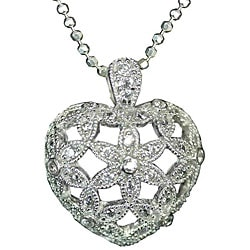 Sterling Silver Micropave-set Cubic Zirconia Openwork Heart Necklace