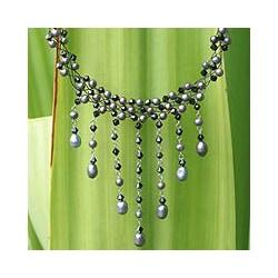 Steel 'Rain Shower' Black Freshwater Pearl Necklace (4-8 mm) (Thailand)