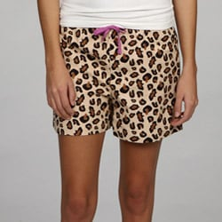 Leisureland Women's Leopard Flannel Boxer Shorts