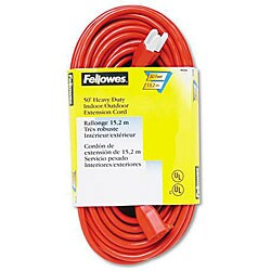 Fellowes Indoor/Outdoor Orange Extension Cord