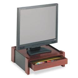 Rolodex Brown Wood Desktop Monitor Stand with Cord Organizer