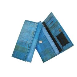 Recycled Plastic Blue Newsprint Wallet (India)