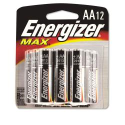 Energizer Max Alkaline AA Batteries (Pack of 12)
