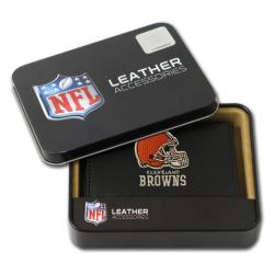 Cleveland Browns Men's Black Leather Tri-fold Wallet