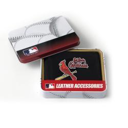 St. Louis Cardinals Men's Black Leather Tri-fold Wallet