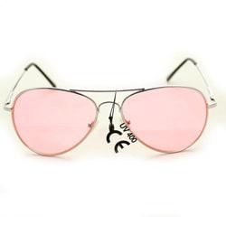 Women's 30011c Silvertone Aviator Sunglasses with Pink Lenses