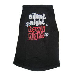 "Black ""Silent Night Howli Night"" Dog Tank Top or T-shirt"