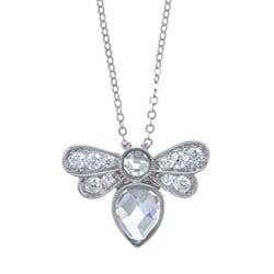 La Preciosa Sterling Silver Clear Cubic Zirconia Bee Necklace