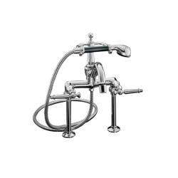 Kohler K-110-4-CP Polished Chrome Antique Bath Faucet With Handshower And Lever Handles
