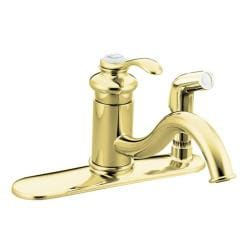Kohler K-12173-PB Vibrant Polished Brass Fairfax Single-Control Kitchen Sink Faucet With Sidespray In Escutcheon