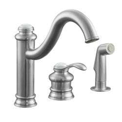 Kohler K-12185-G Brushed Chrome Fairfax Single-Control Remote Valve Kitchen Sink Faucet With Sidespray And Lever Handle