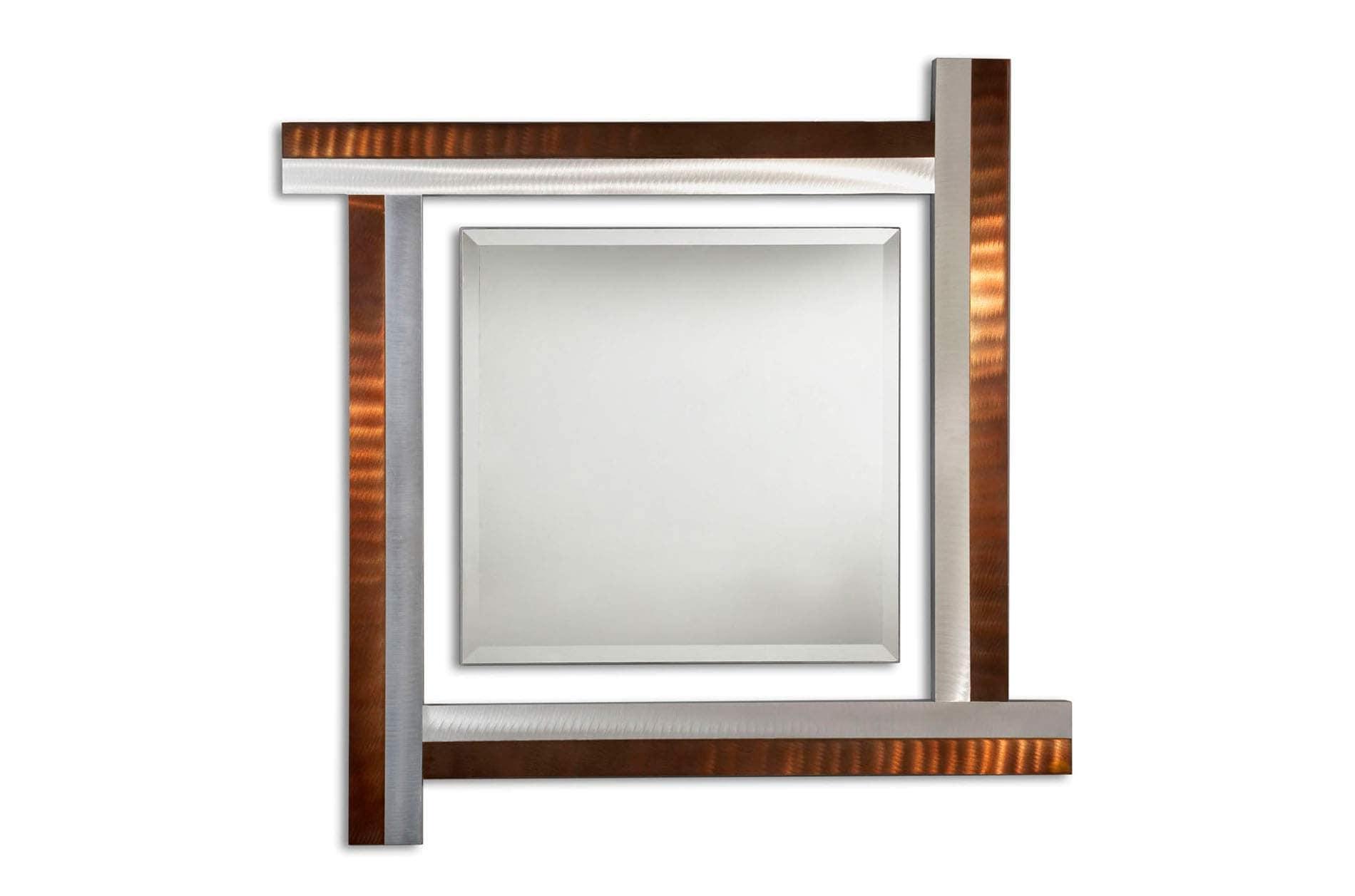 Jon Gilmore Designs Get Together Silver/ Bronze Square Mirror