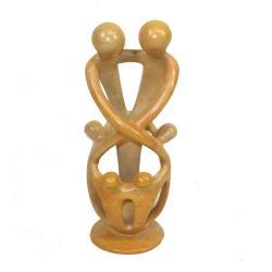Soapstone Loving Family Embrace 2 Parents 4 Children Statue  , Handmade in Kenya 7606580