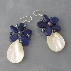 Lapis and Mother of Pearl Flower Drop Earrings (Thailand)