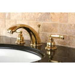 French Handle Polished Brass Widespread Bathroom Faucet