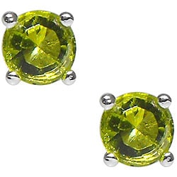 Sterling Silver Green Cubic Zirconia Stud Earrings
